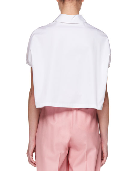 Loha Button-Front Short-Sleeve Cropped Poplin Top