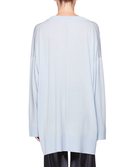 Sabrinah V-Neck Long-Sleeve Wool Tunic Top