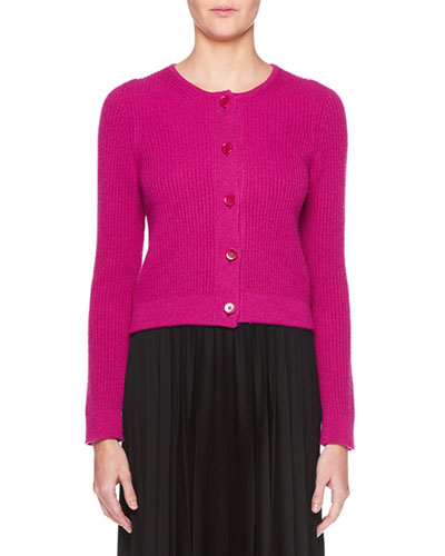 Loulou Button-Down Cropped Cashmere Cardigan