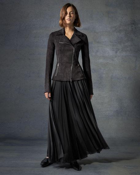 Vailen Pleated Satin Maxi Skirt