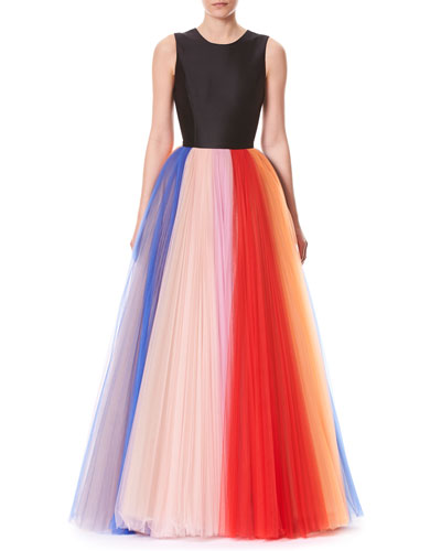 Sleeveless Evening Gown w/ Pleated Tulle Skirt