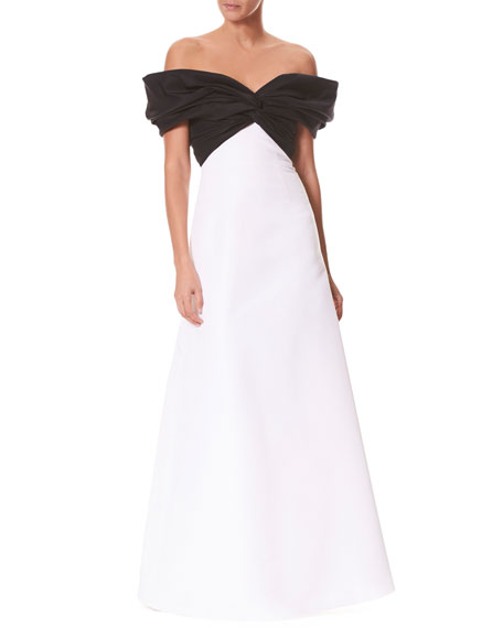 Off-the-Shoulder Twist-Front Colorblocked Evening Gown