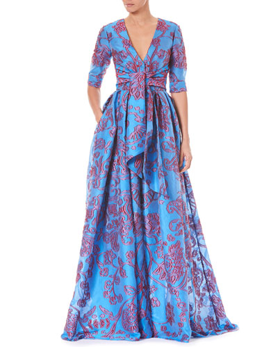 Twist-Tie Front Elbow-Sleeve Jacquard Trench Evening Gown