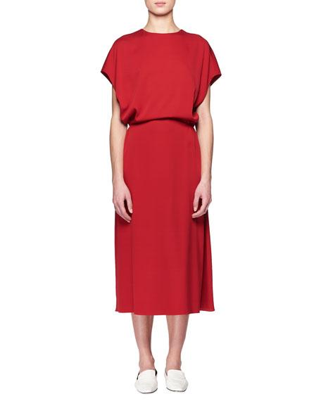 Cyde Dolman-Sleeve Blouson-Top A-Line Silk Dress