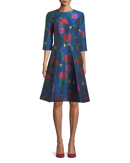 3/4-Sleeve Floral-Jacquard A-Line Cocktail Dress