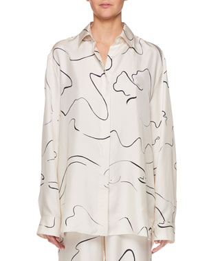9a55132ebc THE ROW Big Sisea Button-Down Long-Sleeve Silk Shirt