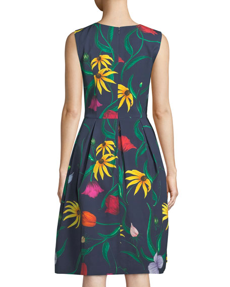 Sleeveless Floral-Print Fit-and-Flare Cocktail Dress