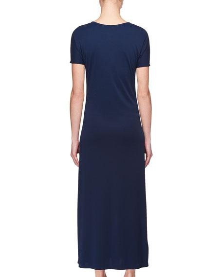Nacis Crewneck Short-Sleeve Jersey Maxi Dress