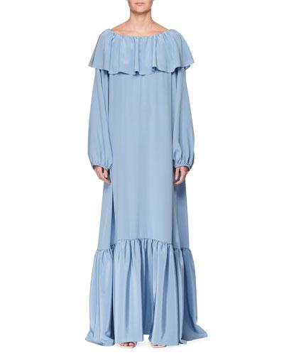 Roosho Off-the-Shoulder Long Silk Dress