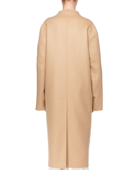 Paret Open-Front Wool-Cashmere Coat w/ Patch Pockets