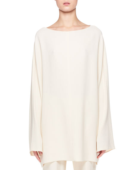 THE ROW Duni Round-Neck Long-Sleeve Tunic Top