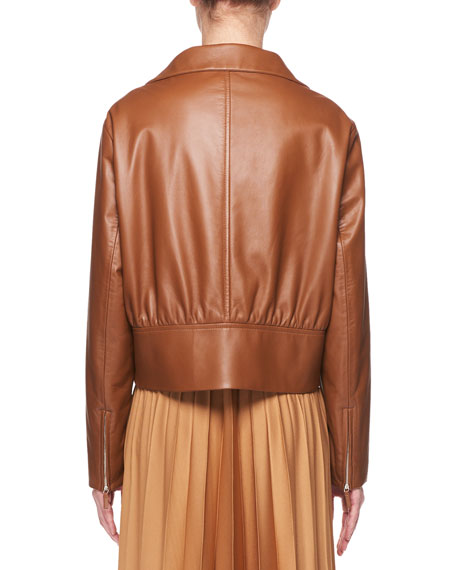 Baxter Zip-Front Lambskin Leather Jacket