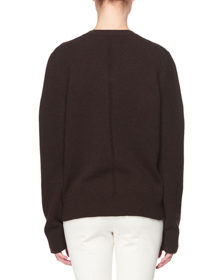 Monica V-Neck Long-Sleeve Cashmere Top