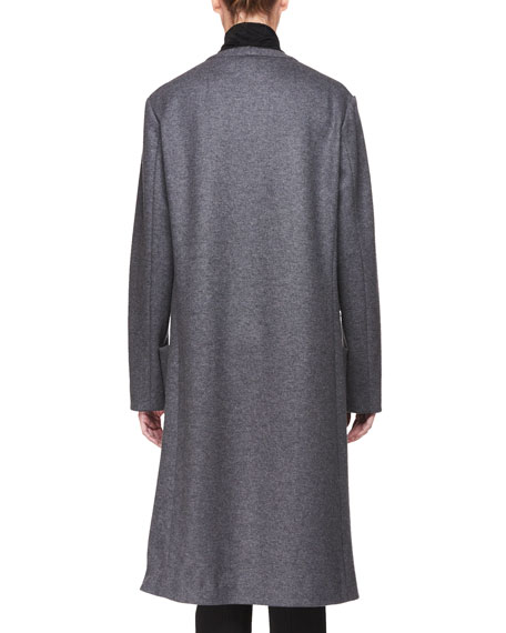 Elisand Open-Front Heathered Wool Coat with Leather Trim