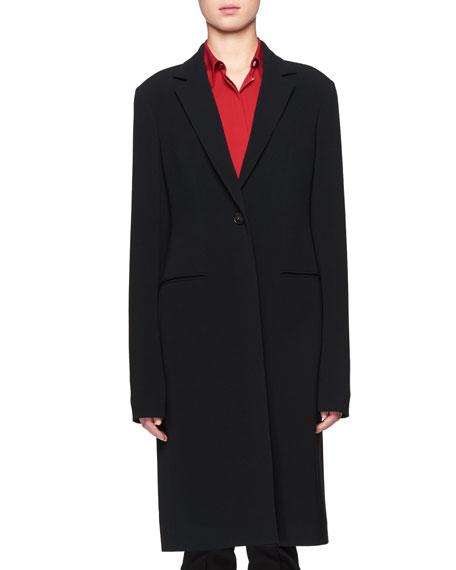 Pryor One-Button Crepe Coat