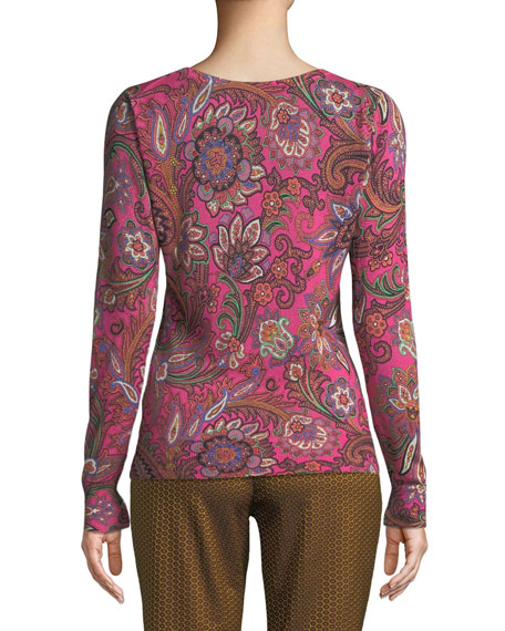 V-Neck Long-Sleeve Paisley-Print Silk-Cashmere Sweater