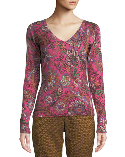 V-Neck Long-Sleeve Paisley-Print Silk-Cashmere Sweater
