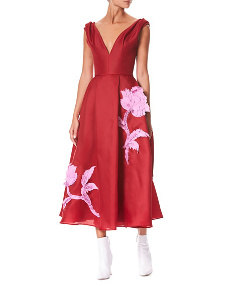 Carolina Herrera V-Neck Sleeveless Floral-Embroidered Tea-Length Cocktail Dress