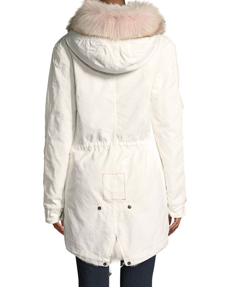 Fox Fur-Hood Zip-Front Canvas Parka Jacket