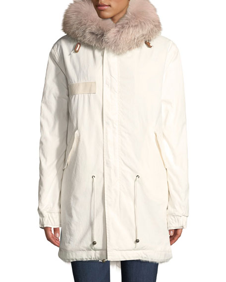 Mr&Mrs Italy Fox Fur-Hood Zip-Front Canvas Parka Jacket