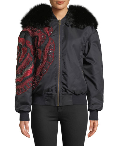 Fox Fur-Hood Flower-Beaded Nylon Bomber Jacket