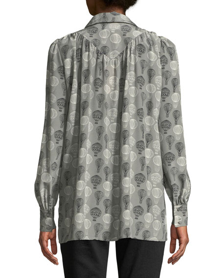 Long-Sleeve Button-Front Balloon-Print Tunic Blouse