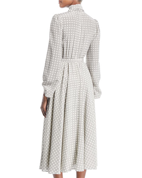 Tie-Neck Long-Sleeve Belted Houndstooth Plaid Silk Midi Dress
