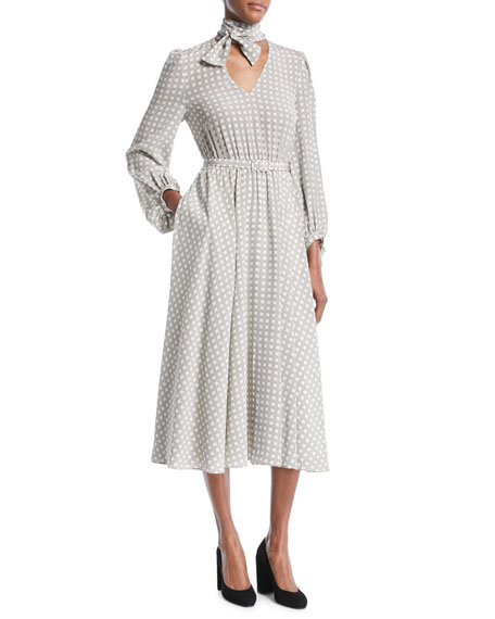 Co Tie-Neck Long-Sleeve Belted Houndstooth Plaid Silk Midi