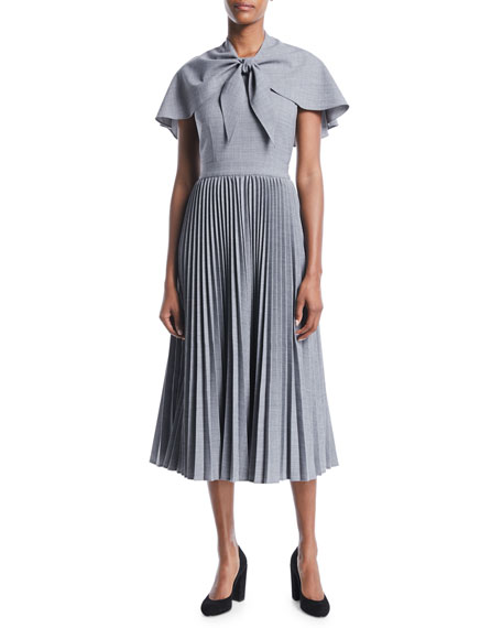 Wool Suiting Midi Dress with Attached Capelet
