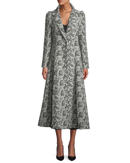 One-Button Jacquard Princess Coat