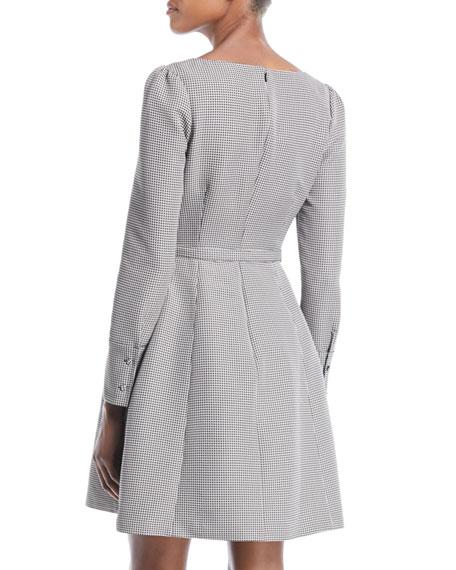 V-Neck Long-Sleeve Belted Houndstooth Dress with Pockets