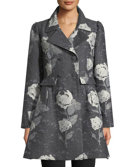 Co Double-Breasted Floral-Jacquard Wool Car Coat and Matching
