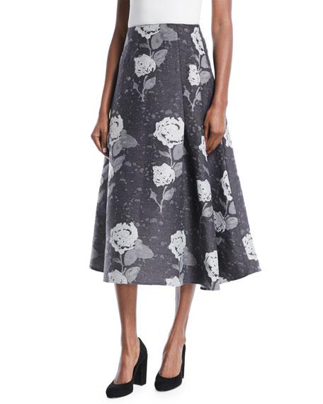Floral-Jacquard Wool A-Line Midi Skirt
