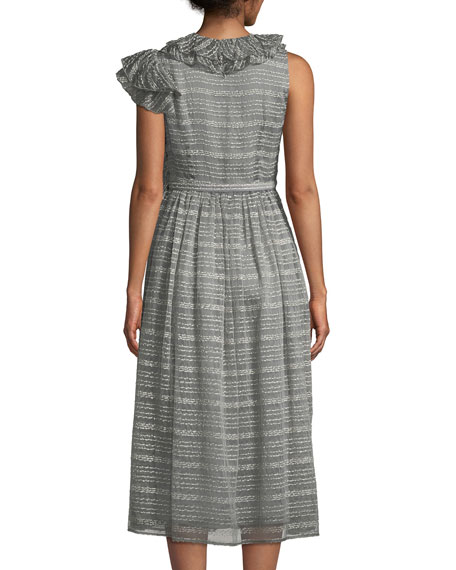 Ruffled-Shoulder Belted Metallic Rope-Print A-Line Midi Cocktail Dress