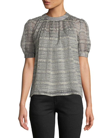 Crewneck Short-Sleeve Metallic Rope-Stripe Top