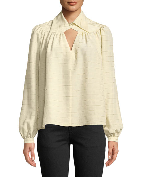 Co Long-Sleeve Diamond-Keyhole Yoked Striped Silk Blouse