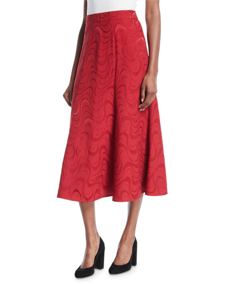 Spiral-Jacquard A-Line Midi Cocktail Skirt