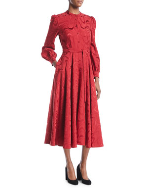 6c53cf306a Co Button-Down Long-Sleeve Spiral-Jacquard Midi Dress