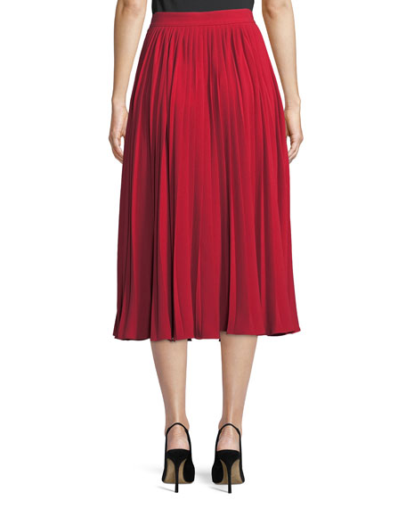 Chrstal A-Line Pleated Crepe Midi Skirt