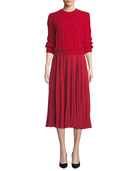 Chrstal A-Line Pleated Crepe Midi Skirt