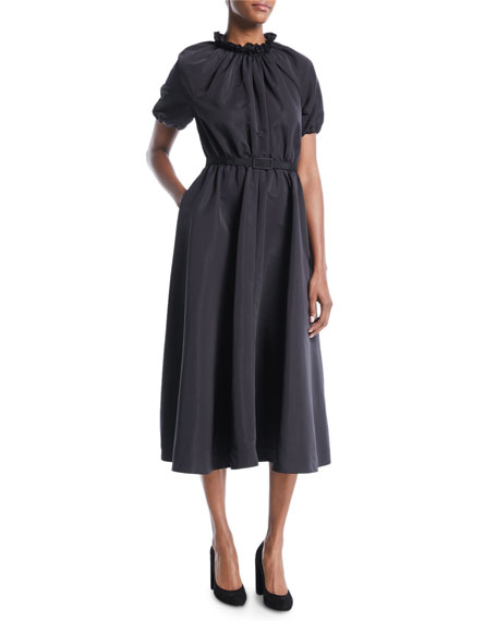 Co Ruched Mock-Neck Short-Sleeve Belted Faille Midi Cocktail