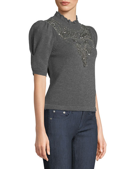 Mock-Neck Pouf-Sleeve Wool-Cashmere Sweater w/ Chandelier Embellishment