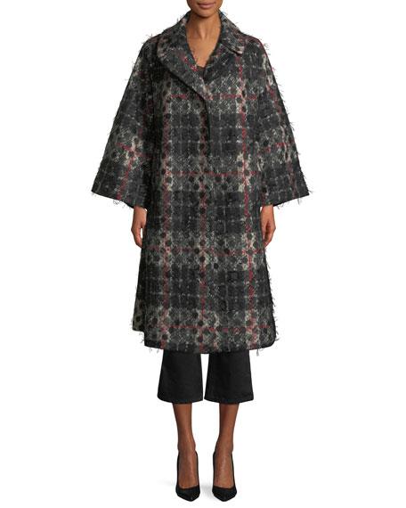 Dot-Jacquard Plaid Knit Swing Coat w/ Frayed Threads