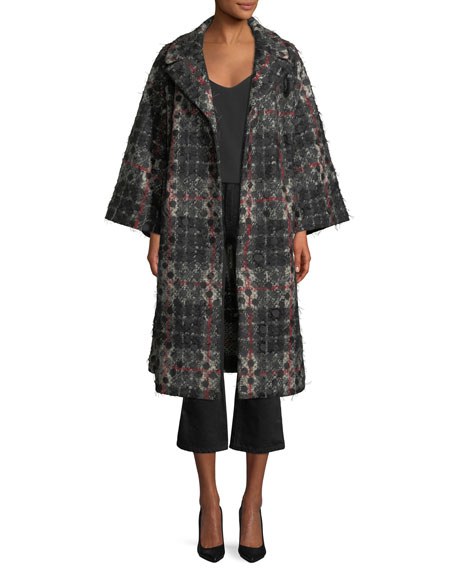 Co Dot-Jacquard Plaid Knit Swing Coat w/ Frayed