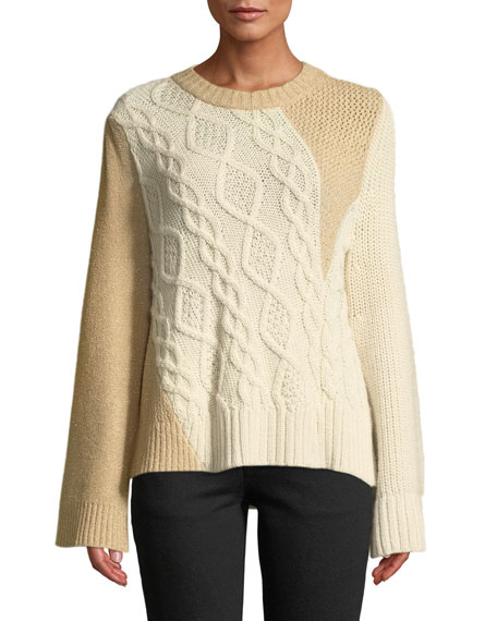 Crewneck Long-Sleeve Patchwork Cable-Knit Tunic Sweater, Ivory