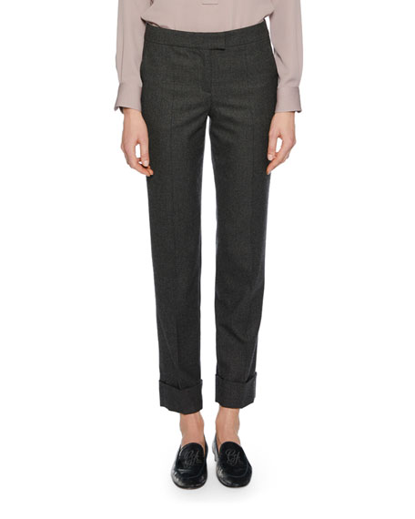 Cashmere Straight-Leg Cuffed Pants