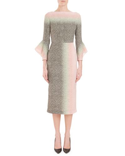 Goodwin Fluted-Sleeve Dégradé Sheath Midi Dress