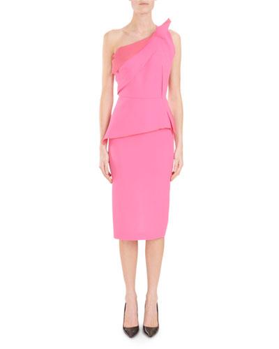 Mendes One-Shoulder Asymmetric-Drape Peplum Slim Cocktail Dress