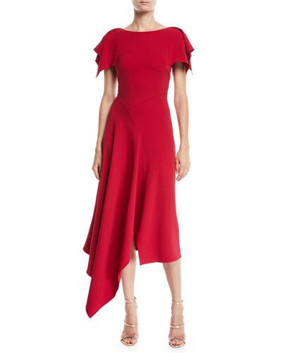 Warren Flutter-Sleeve Round-Neck Calf-Length Dress w/ Handkerchief Hem