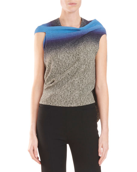 Roland Mouret Eugene Draped-Back Speckle-Print Top